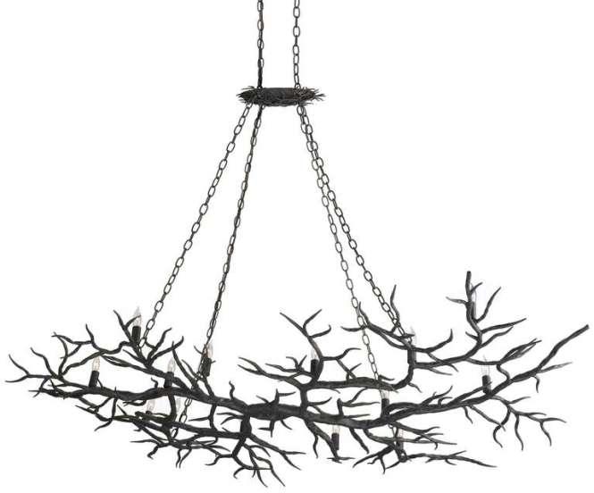 Metal Faux Branch Chandelier For