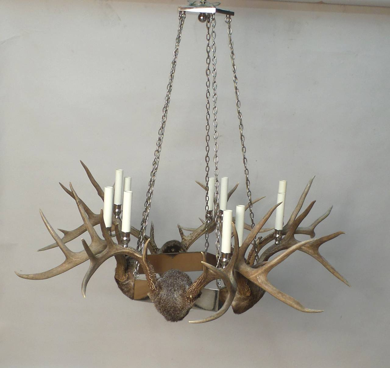 Antler And Chrome Chandelier For Sale At 1stdibs
