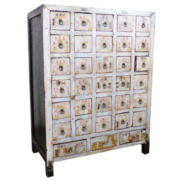 Antique Chinese Poplar Medicine Cabinet At 1stdibs