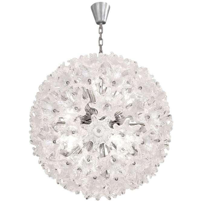 Murano Chrome And Glass Flower Ball Chandelier 1