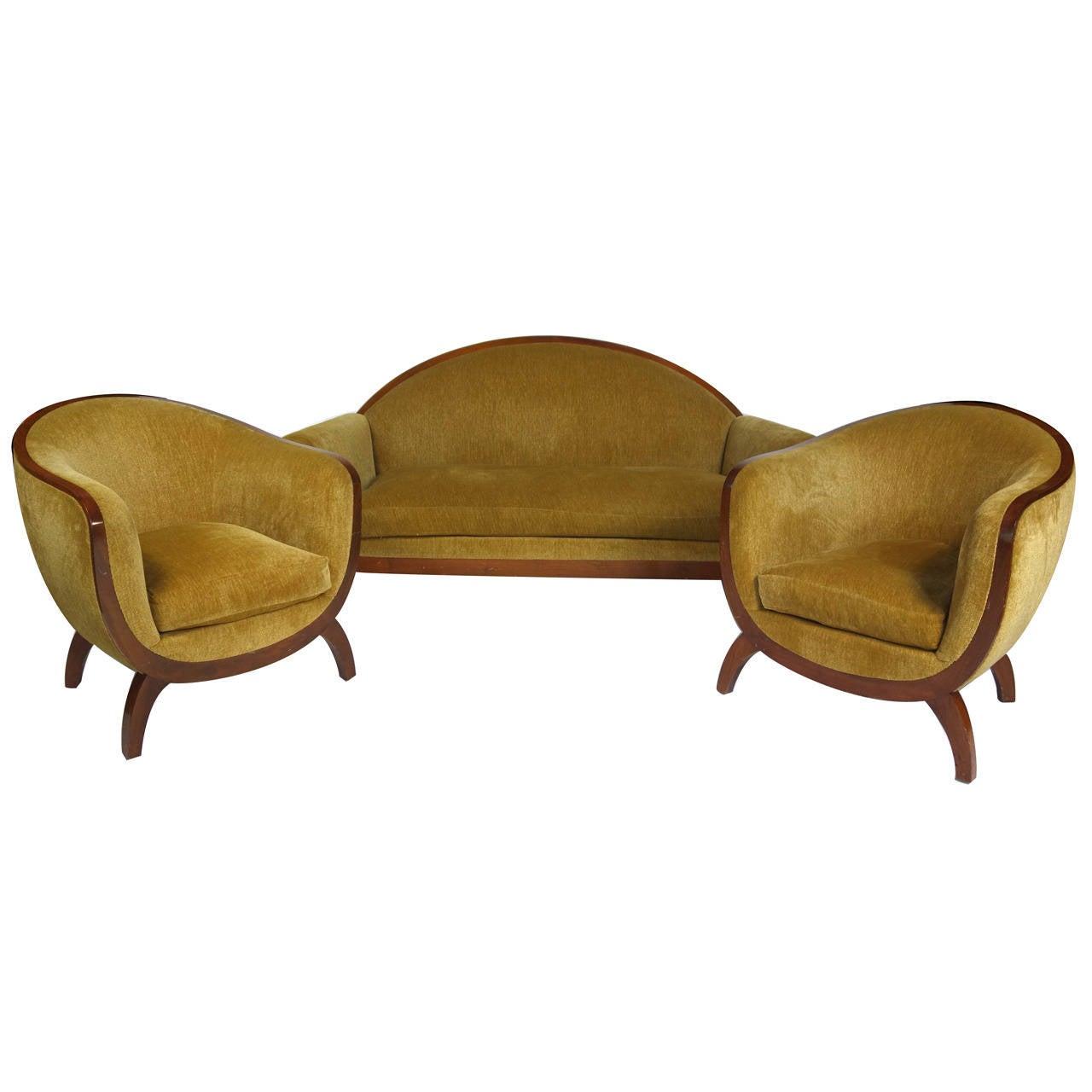 Rare Art Deco Three Piece Salon Suite By Lucie Renaudot