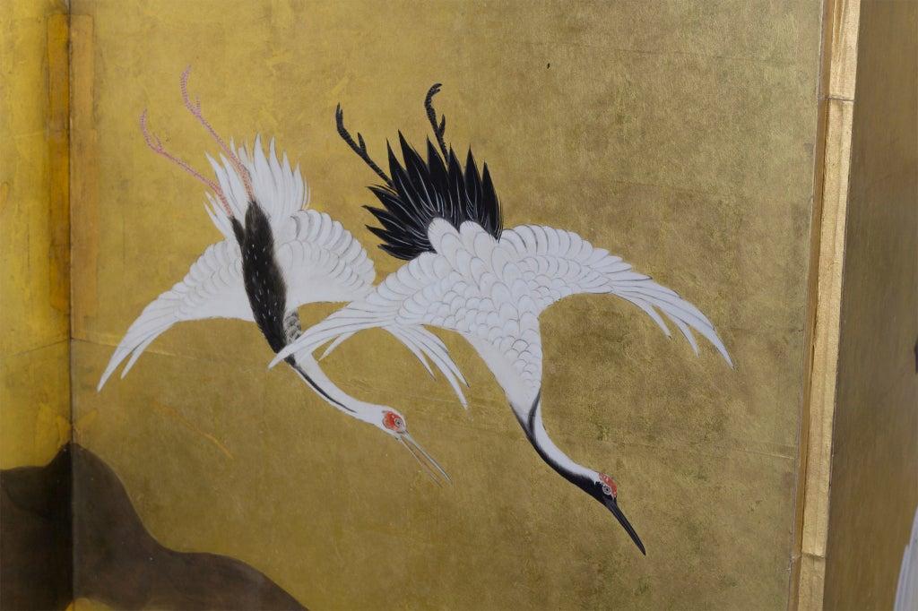 Fine Large Japanese Edo Period Painted Crane Screen At 1stdibs