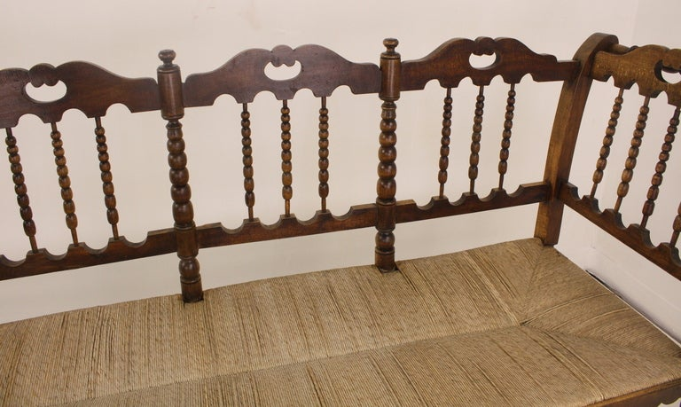 Antique French Rush Seated Bench With Spindle Back For