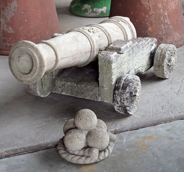 A French Cast Stone Ships Cannon On A Faux Bois Cart At 1stdibs