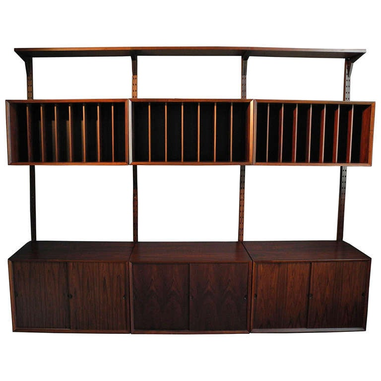 Danish Modern Rosewood Record Wall Unit By Poul Cadovious