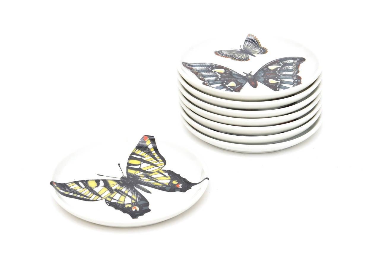 Set Of Eight Piero Fornasetti Vintage Butterfly Porcelain