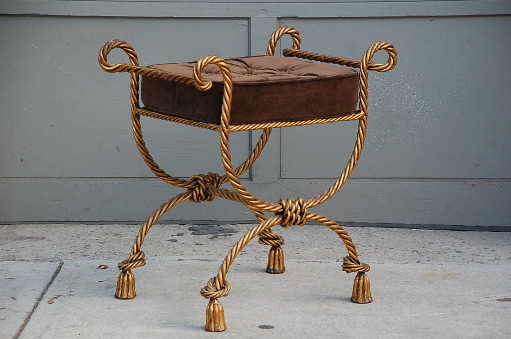 Upholstered Gilt Metal Stool At 1stdibs