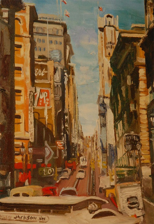 Vintage San Francisco Cable Car Oil Painting At 1stdibs