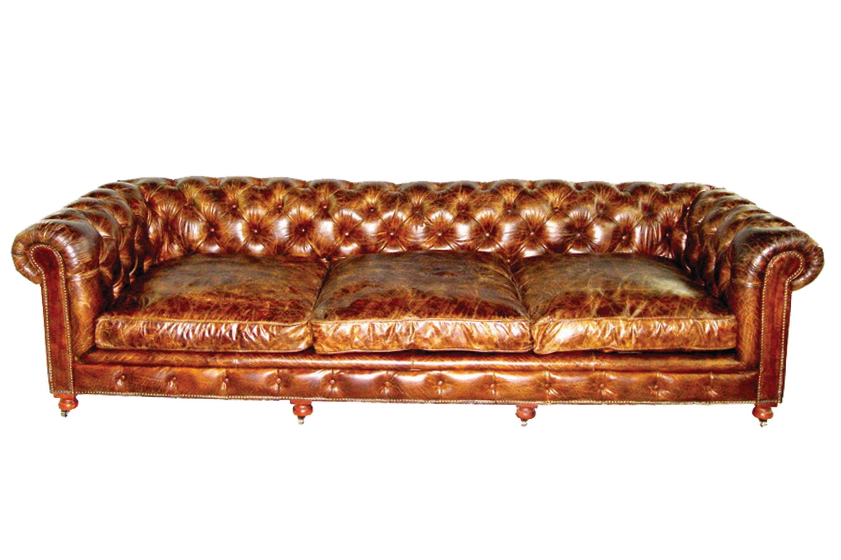 pair of monumental distressed leather chesterfield sofas priced per sofa