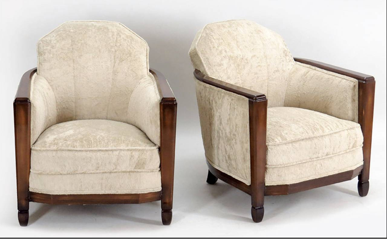 Pair Of French Club Chairs Attributed To Paul Follot For