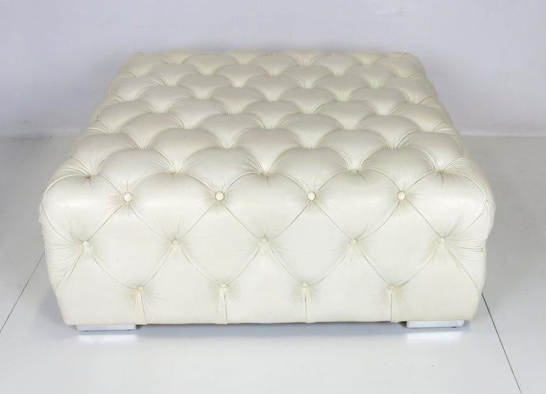 Large Tufted Leather Ottoman On Chrome Feet At 1stdibs