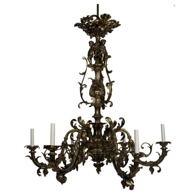 Six Light Cast Bronze Rococo Chandelier Circa 1880 1