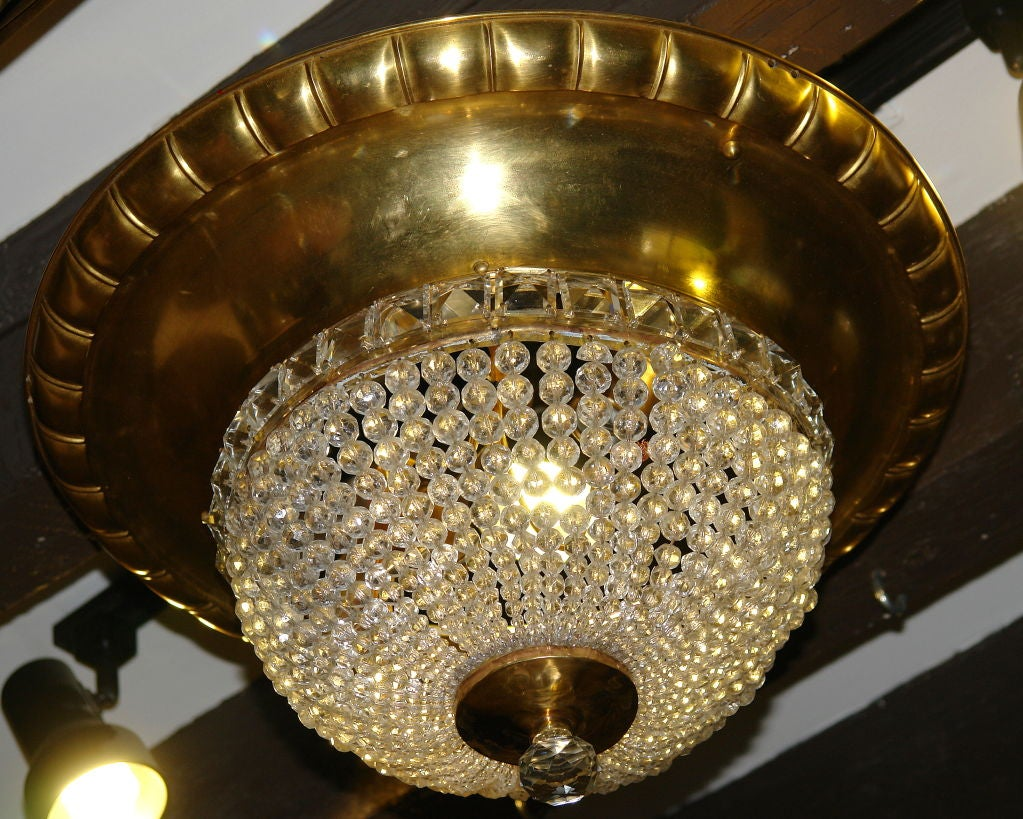 Beaded Crystal And Gilt Metal Flush Mounted Light Fixture