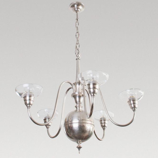 Scandinavian Modern Swedish Art Deco Silver Plated Bronze 5 Arm Chandelier With Crystal Glass