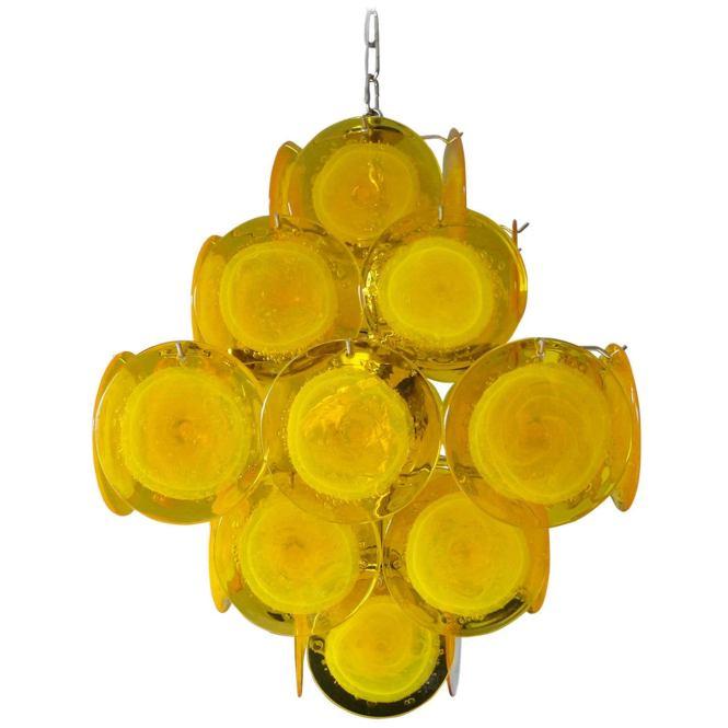 Yellow Murano Glass Chandelier For