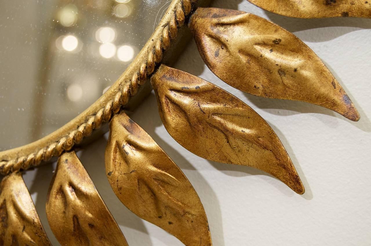 Oval Gold Leaf Sunburst Mirror At 1stdibs