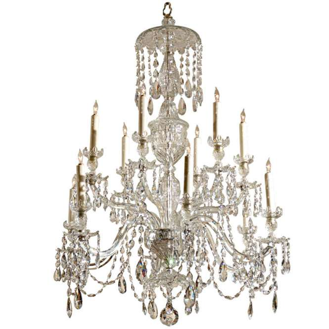 19th Century English Waterford 12 Light Crystal Arm Chandelier For