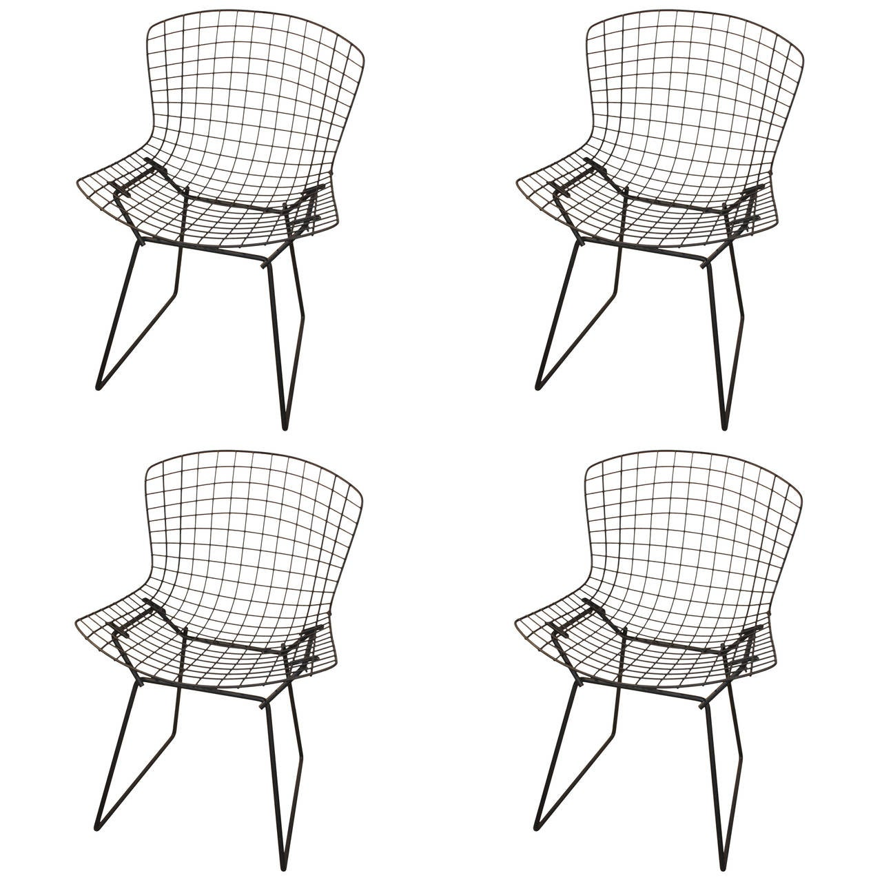 Set Of Four Chairs By Harry Bertoia At 1stdibs