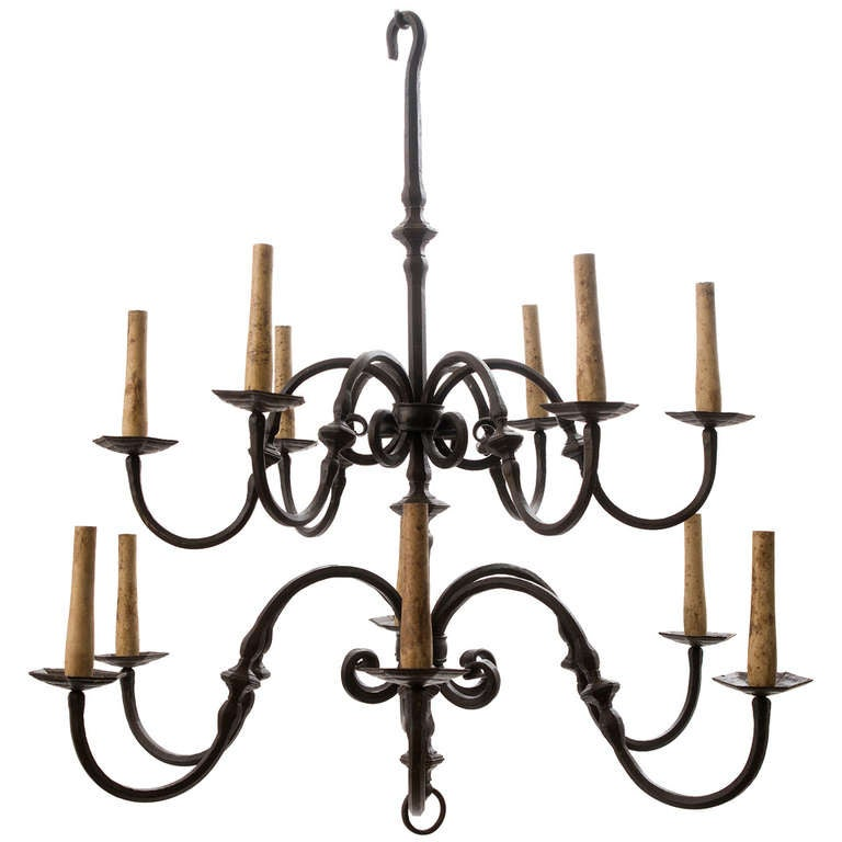 17th Century Tuscan Wrought Iron Two Tier Chandelier With