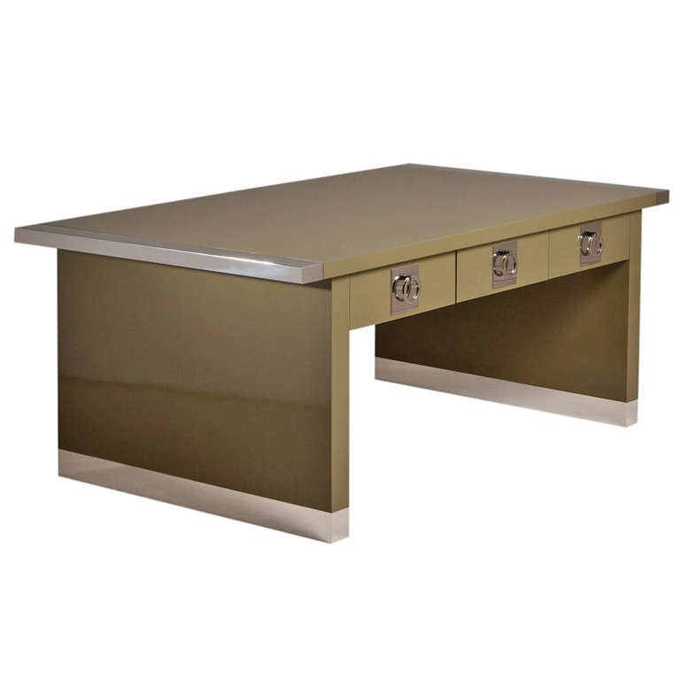 A Chrome And Sage Green Lacquered Partners Desk For Sale