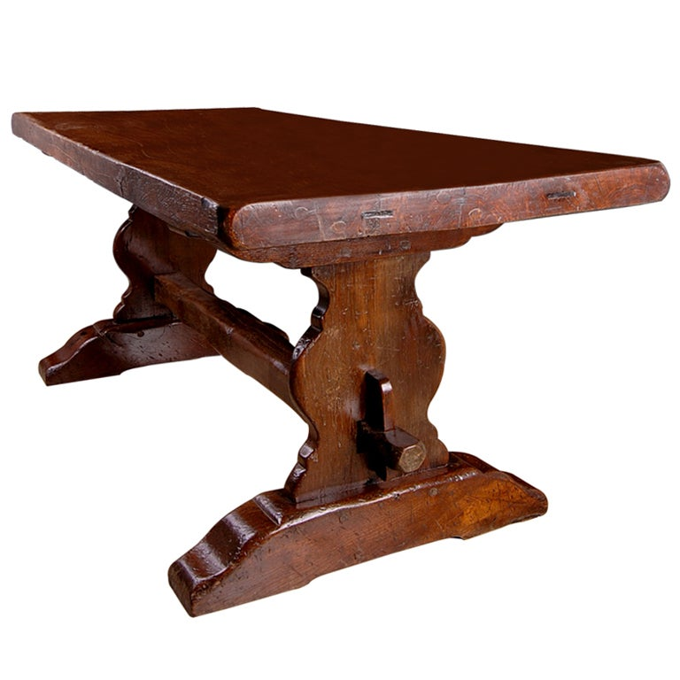 French Oak Antique Trestle Farm Table At 1stdibs