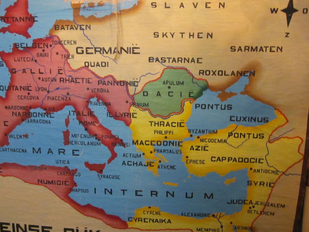 Vintage Hand Painted Map Of Roman Empire At 1stdibs