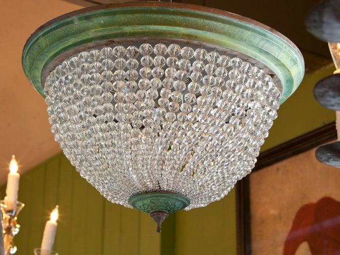 Brass And Glass Beaded Flush Mount Light At 1stdibs