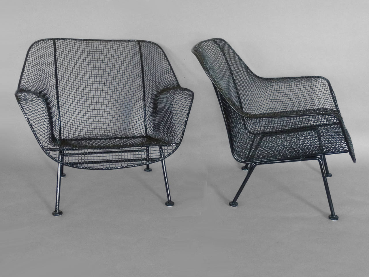 Pair Of Woodard Wrought Iron With Mesh Lounge Chairs At