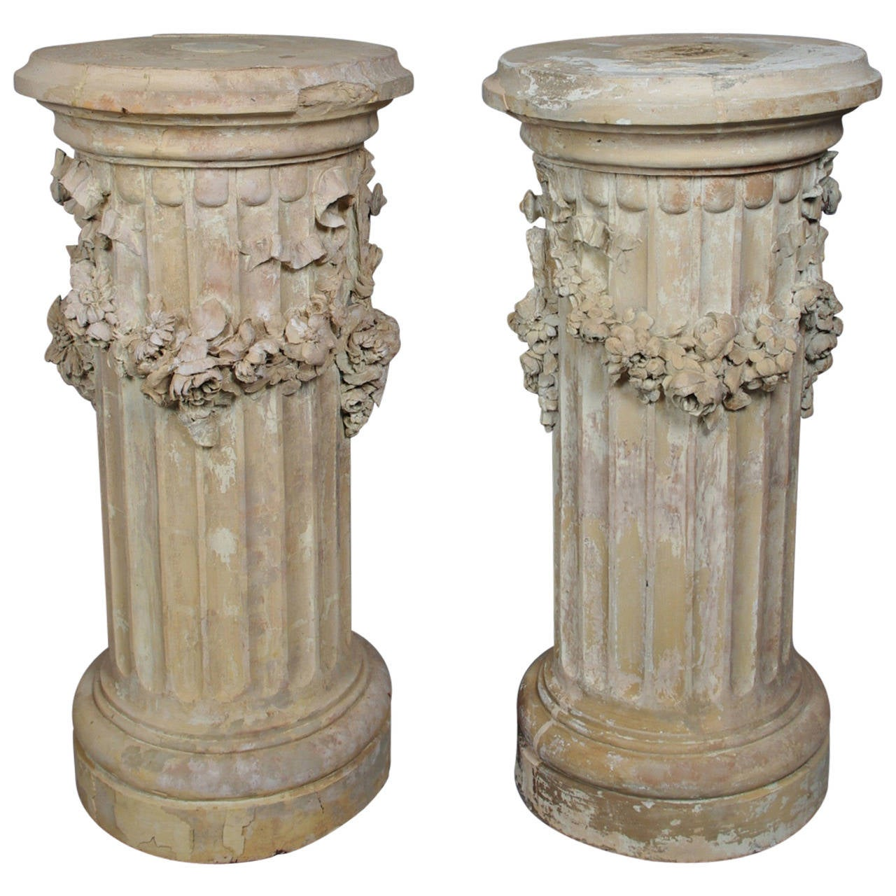Pair Of Terracotta Fluted Pedestals At 1stdibs
