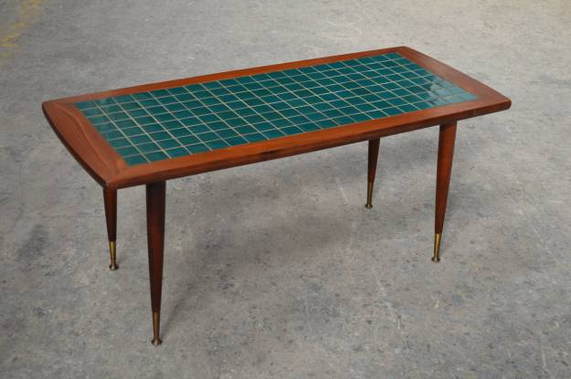 mid-century modern turquoise tile-top coffee table at 1stdibs