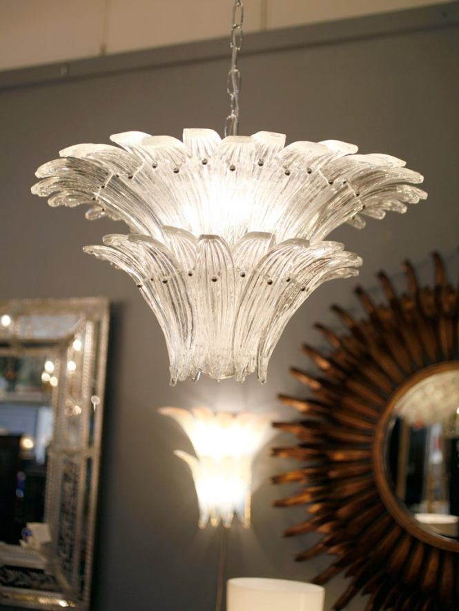 Two Tier Murano Glass Leaves Chandelier By Barovier 2