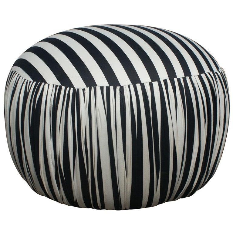 contemporary round black and white pouf ottoman