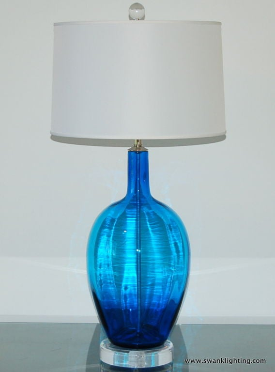 Vintage Hand Blown Glass Lamp In Royal Blue At 1stdibs