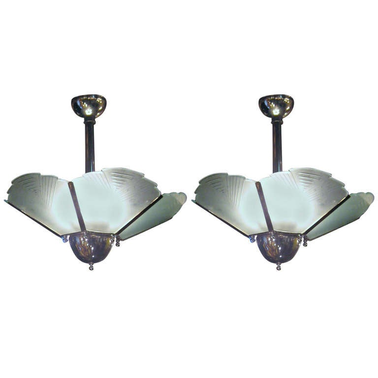 Large Pair Of Art Deco Chrome And Frosted And Etched Glass