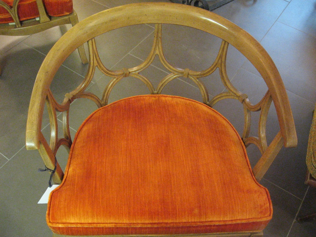Pair Of Beige Barrel Back Chairs With Orange Seat Cushions