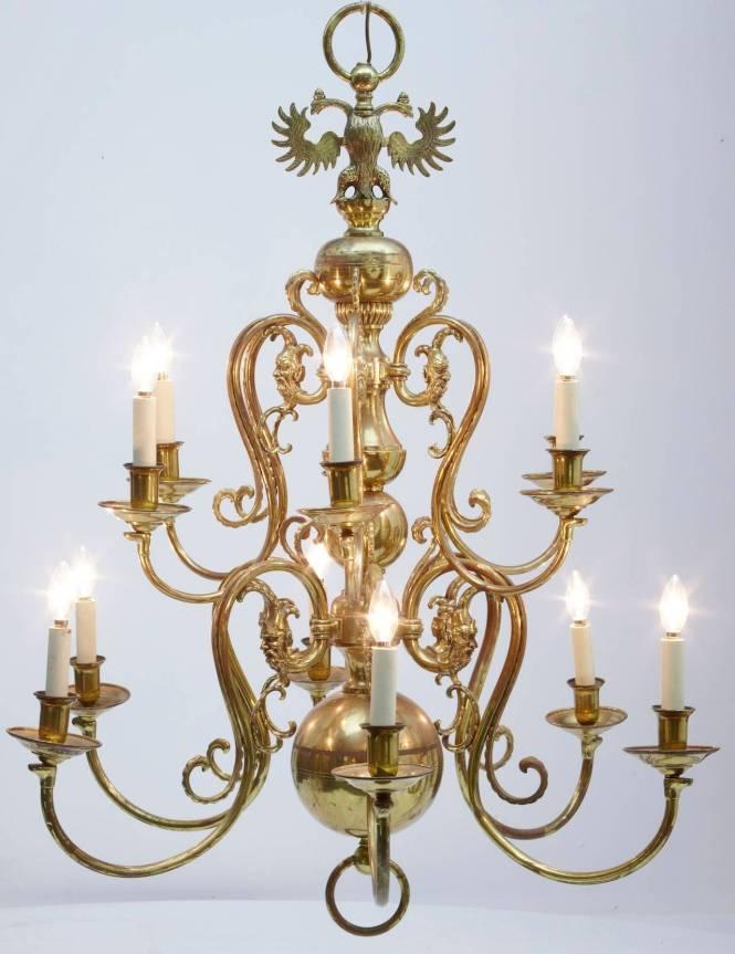 19th Century Twelve Arm Large Dutch Brass Chandelier 2