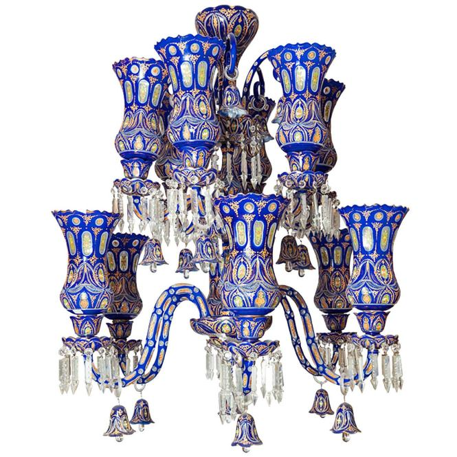 Bohemian Blue To Clear Overlay Glass Palace Size Twelve Light Chandelier 1