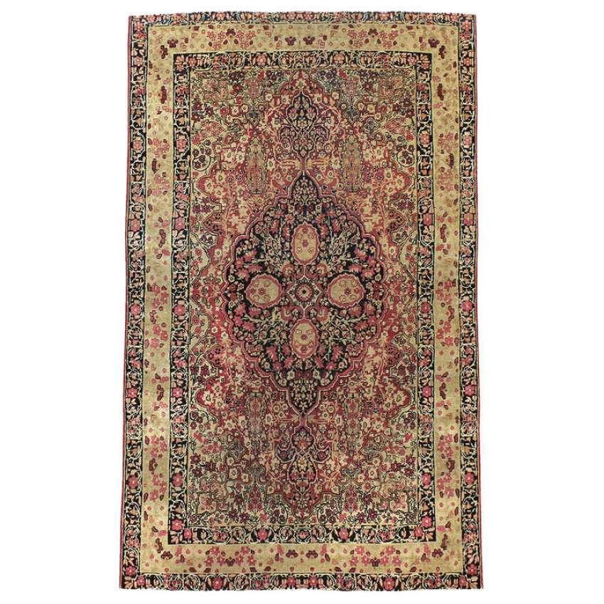 Antique Persian Lavar Kerman Rug 1