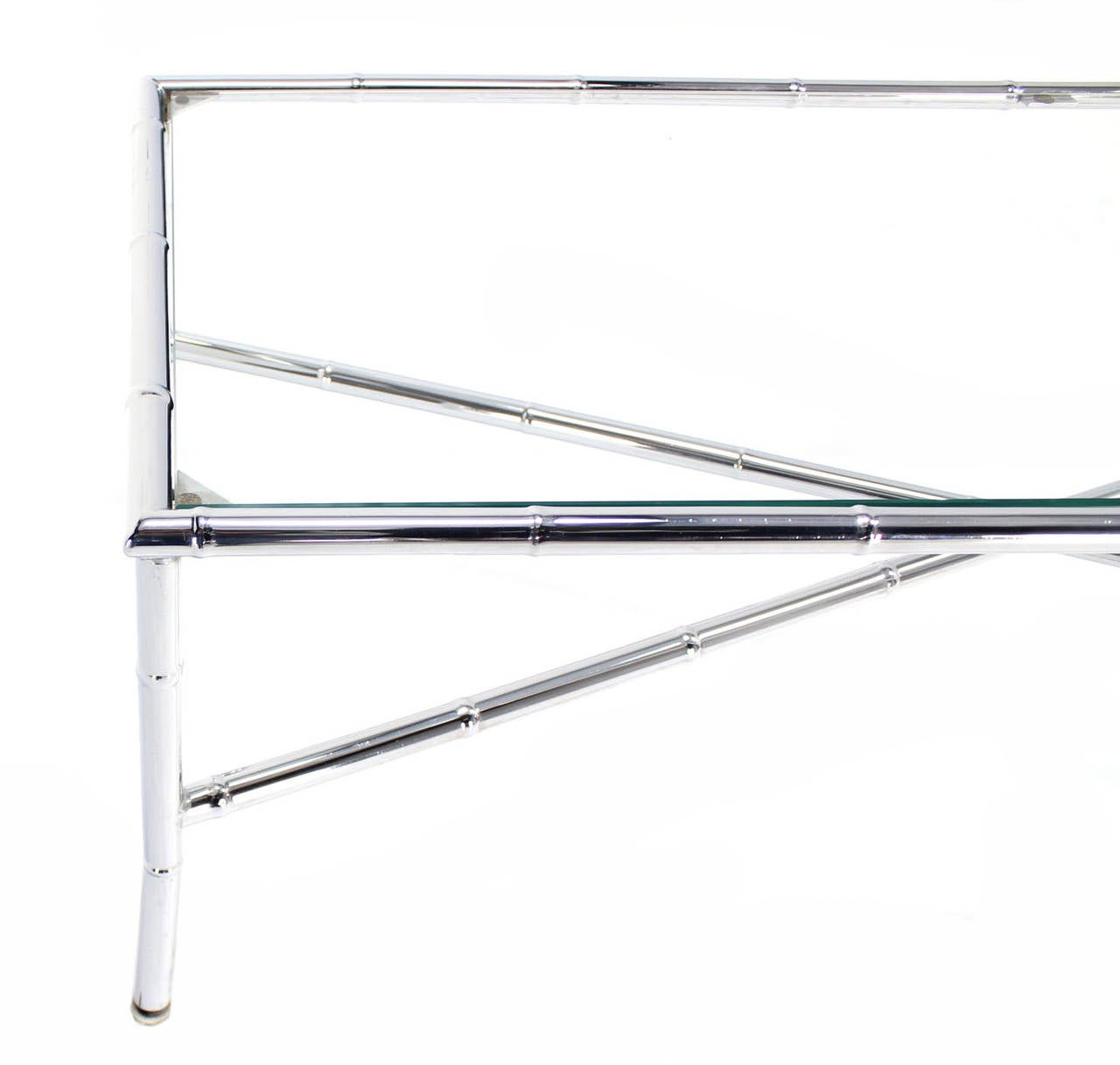 Faux Bamboo Chrome X Base Long Rectangle Coffee Table For