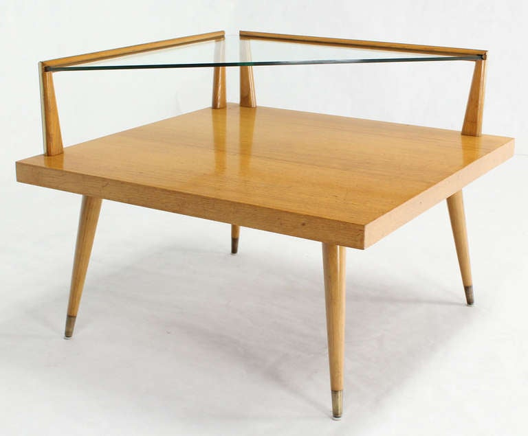 Mid-Century Modern Two-Tier Corner Coffee Or End Table At