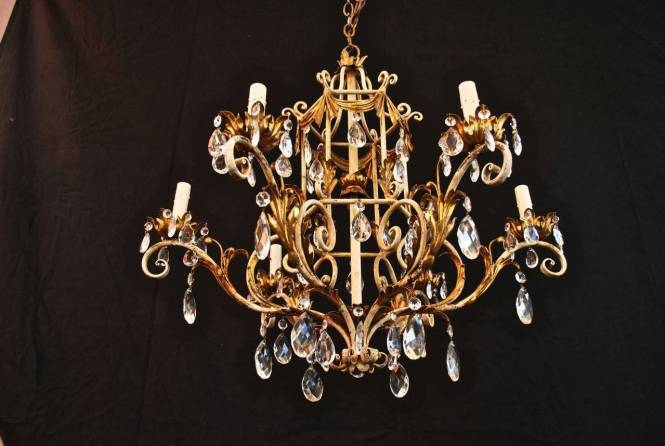 1950 Italian Wrought Iron And Crystal Chandelier 3