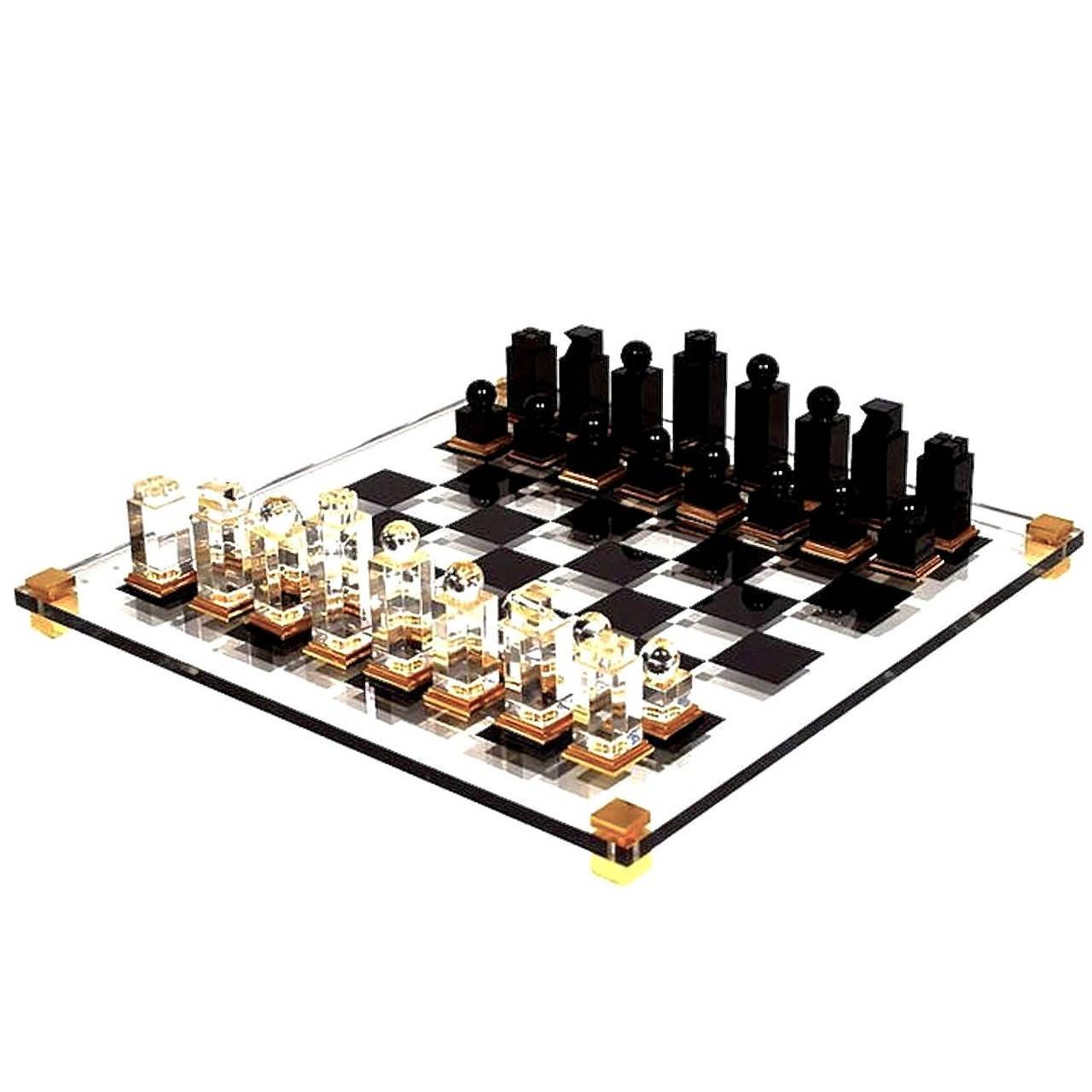 Michel Dumas Lucite Chess Set At 1stdibs