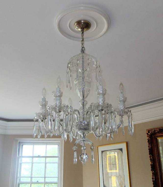 Waterford Crystal Avoca 6 Arm Chandelier With Urn Shaped Center Column Tulip Bobeches