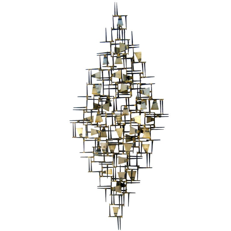 A Vintage 1960s Hand Wrought Abstract Metal Wall