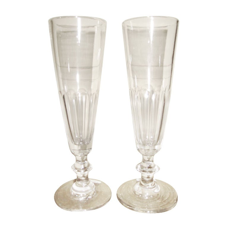 French Hand Blown Champagne Glasses 1