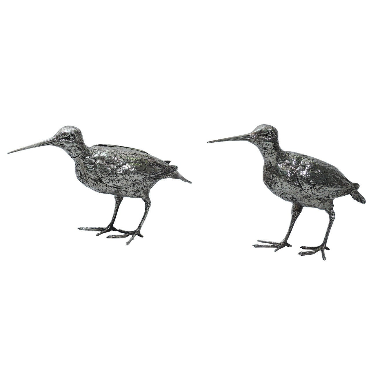 Pair Of German Silver Snipe Spice Boxes For Sale At 1stdibs