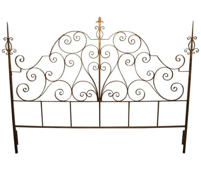 Wrought Iron Italian Gold Gilt King Size Headboard For Sale