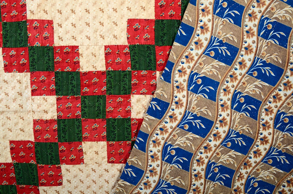 Irish Chain Quilt With Chintz Border For Sale At 1stdibs