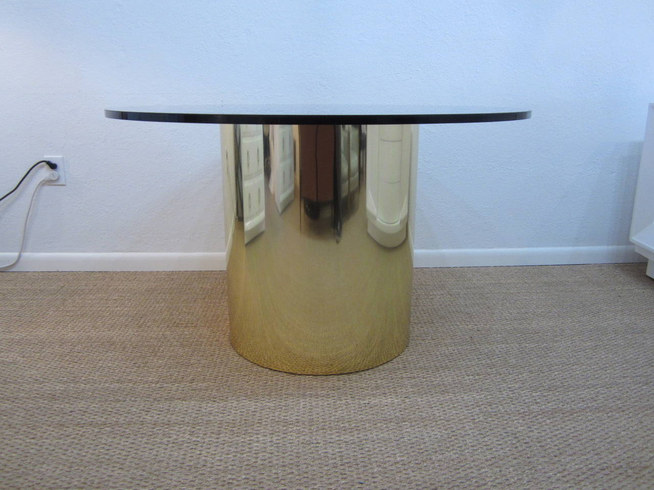 Brass Drum Dining Table With Amber Glass Top At 1stdibs