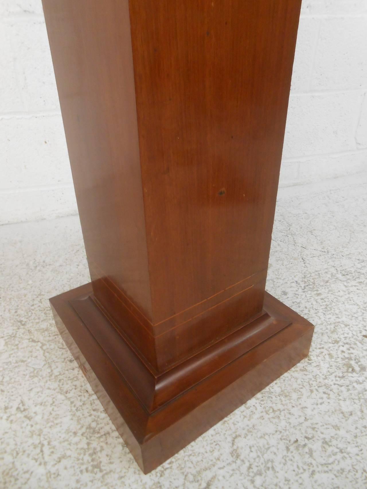 Mid Century Modern Pedestal W Decorative Inlay For Sale